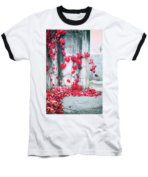 Baseball T-Shirt featuring the photograph Red Ivy Leaves by Silvia Ganora