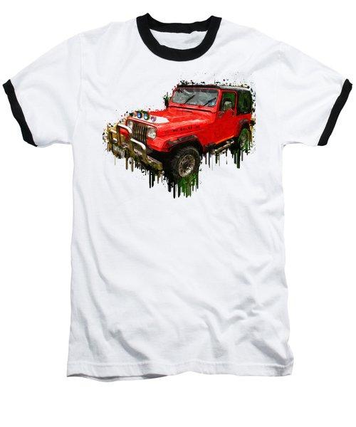 Red Jeep Off Road Acrylic Painting Baseball T-Shirt by Georgeta Blanaru