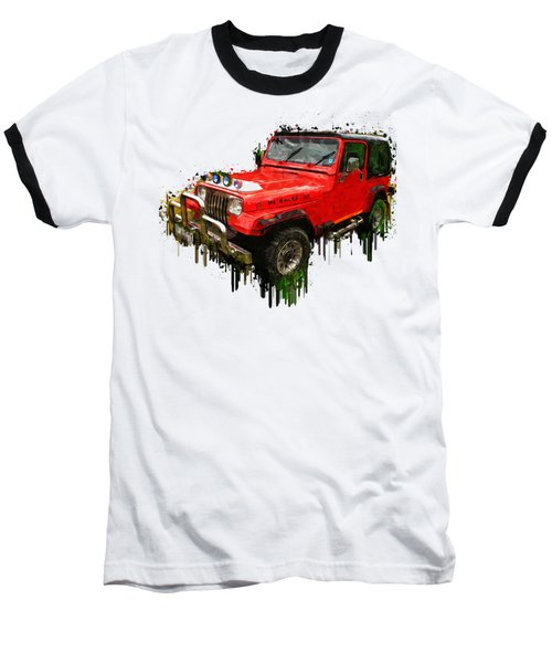 Red Jeep Off Road Acrylic Painting Baseball T-Shirt