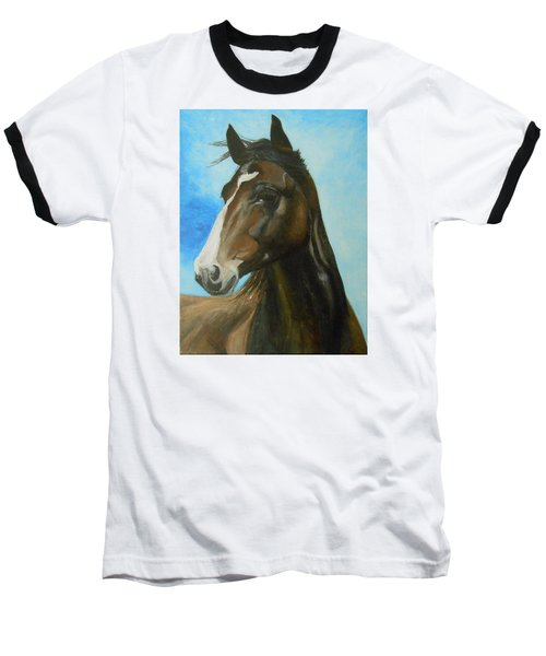 Baseball T-Shirt featuring the painting Red Moon by Jane See