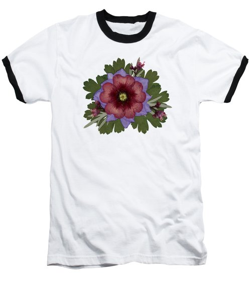 Red Open Faced Potentilla Pressed Flower Arrangement Baseball T-Shirt