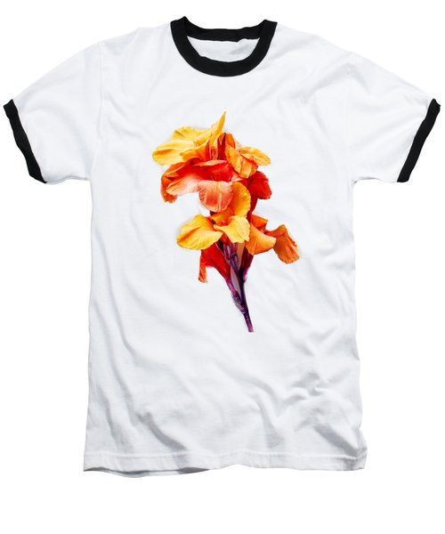 Red Orange Canna Blossom Cutout Baseball T-Shirt by Linda Phelps