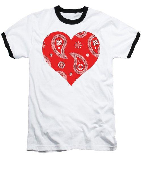 Red Paisley Baseball T-Shirt