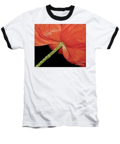 Red Poppy Flower On Black Background Baseball T-Shirt by Carol F Austin
