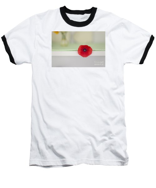 Red Poppy On Windowsill Baseball T-Shirt