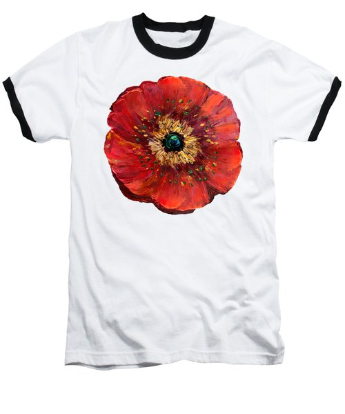 Red Poppy Transparent  Baseball T-Shirt