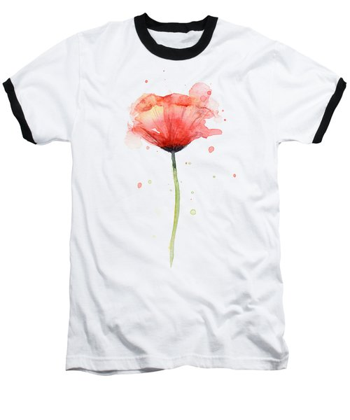 Red Poppy Watercolor Baseball T-Shirt