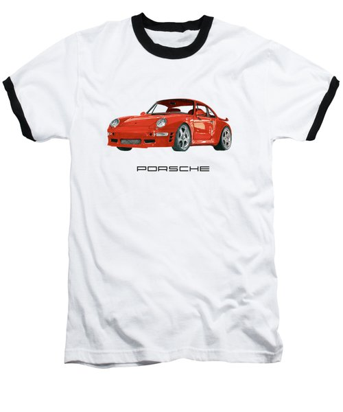 Red Porsche 993 1997 Twin Turbo R Baseball T-Shirt by Jack Pumphrey