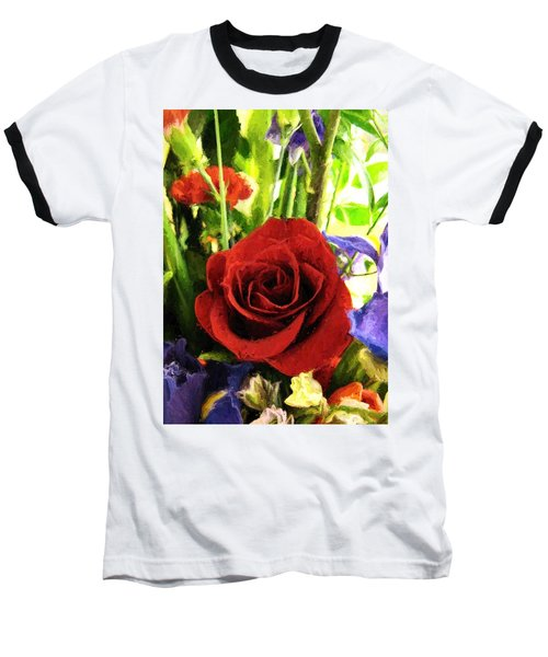 Red Rose And Flowers Baseball T-Shirt