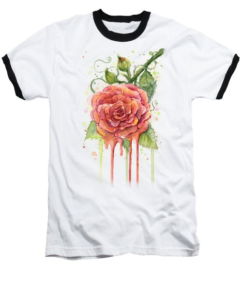 Red Rose Dripping Watercolor  Baseball T-Shirt