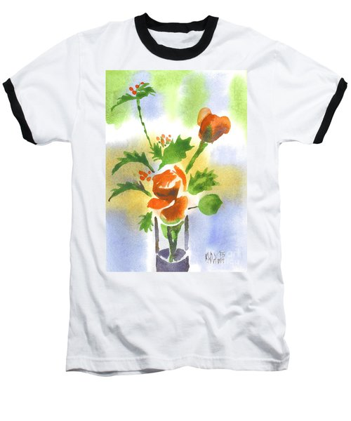Baseball T-Shirt featuring the painting Red Roses With Holly by Kip DeVore