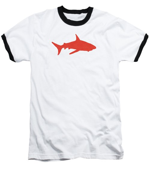 Red Shark Baseball T-Shirt by Linda Woods