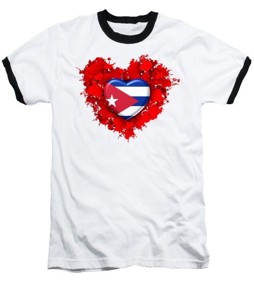 Red Stain Love To Cuba Baseball T-Shirt