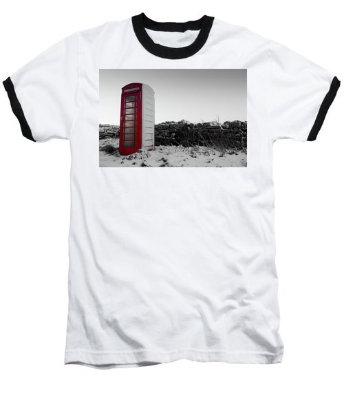 Red Telephone Box In The Snow Vi Baseball T-Shirt