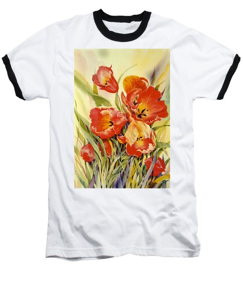 Red Tulips In My Garden Baseball T-Shirt