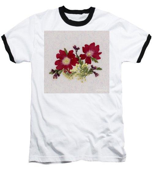 Red Verbena Pressed Flower Arrangement Baseball T-Shirt