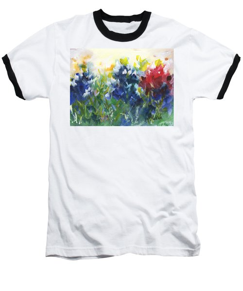 Red White And Bluebonnets Watercolor Painting By Kmcelwaine Baseball T-Shirt by Kathleen McElwaine