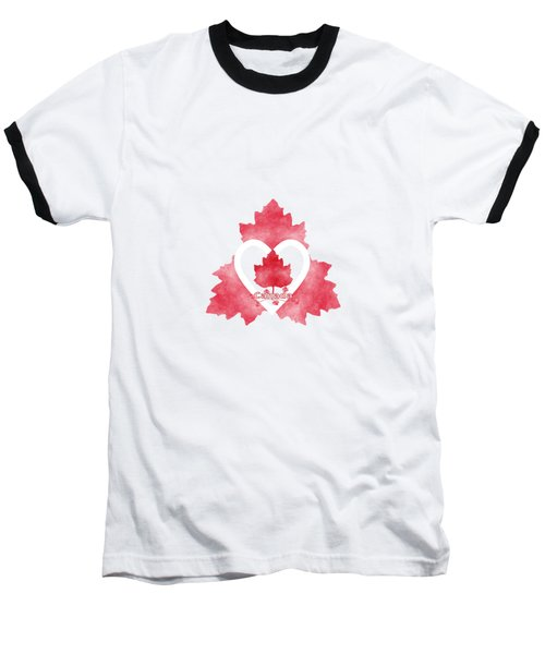 Red White And Canadian Baseball T-Shirt by Kathleen Sartoris