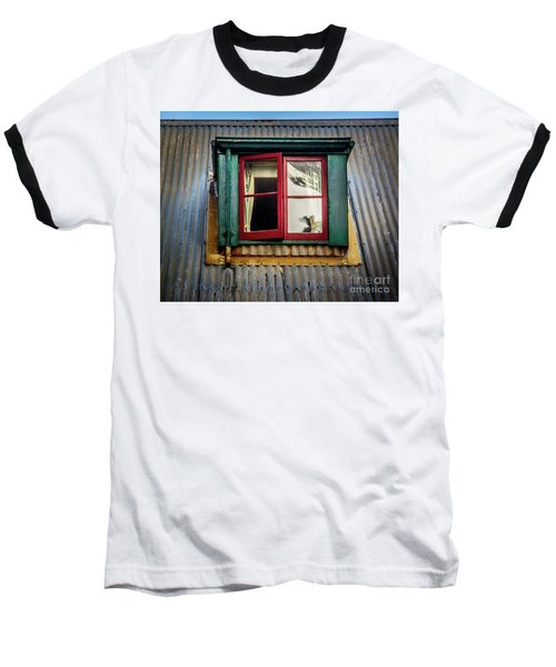 Baseball T-Shirt featuring the photograph Red Windows by Perry Webster