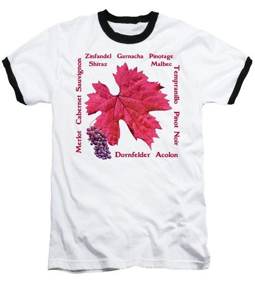 Red Wines Lettering Baseball T-Shirt