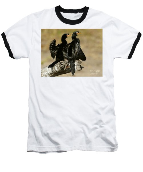 Baseball T-Shirt featuring the photograph Reed Cormorants by Myrna Bradshaw