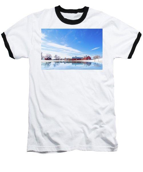 Reflection Of A Barn In Winter Baseball T-Shirt
