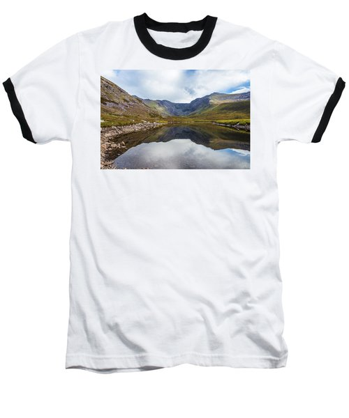 Reflection Of Macgillycuddy's Reeks And Carrauntoohil In Lough E Baseball T-Shirt by Semmick Photo