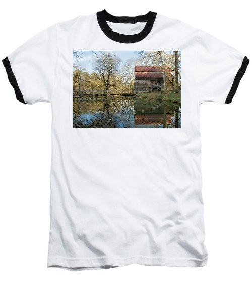 Reflection On A Grist Mill Baseball T-Shirt by George Randy Bass