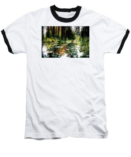 Reflection On Oscar - Claude Monet's Garden Pond Baseball T-Shirt