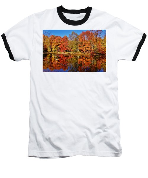 Reflections In Autumn Baseball T-Shirt by Ed Sweeney