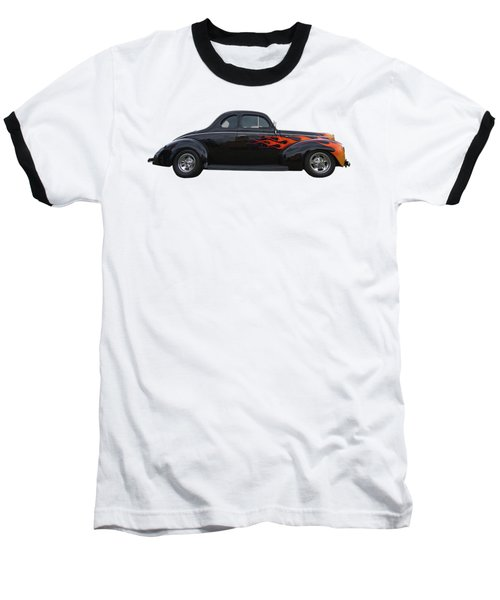 Baseball T-Shirt featuring the photograph Reflections Of A 1940 Ford Deluxe Hot Rod With Flames by Gill Billington