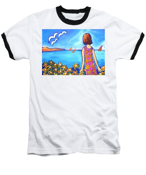 Baseball T-Shirt featuring the painting Remembering Joy by Winsome Gunning