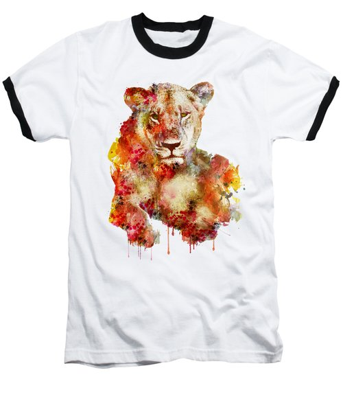Resting Lioness In Watercolor Baseball T-Shirt by Marian Voicu