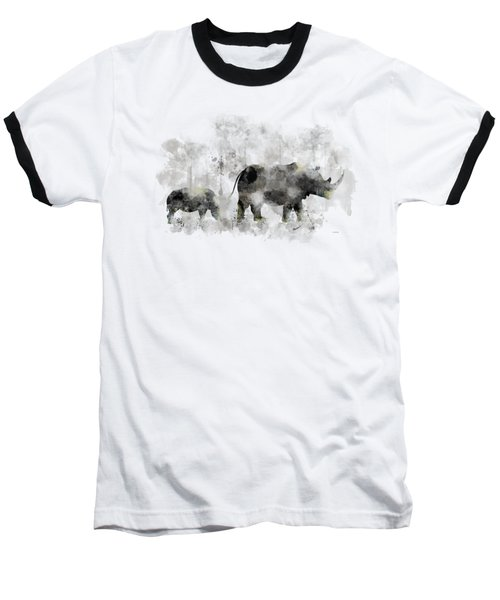 Rhinoceros And Baby Baseball T-Shirt