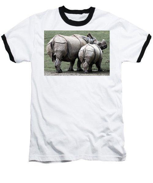 Rhinoceros Mother And Calf In Wild Baseball T-Shirt by Daniel Hagerman