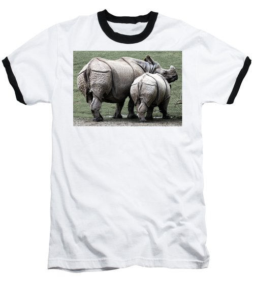 Rhinoceros Mother And Calf In Wild Baseball T-Shirt