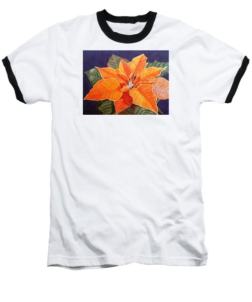 Ribbon Candy Poinsettia Baseball T-Shirt