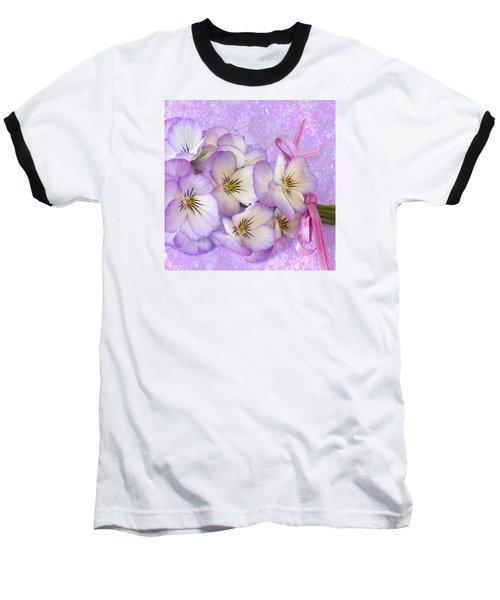 Ribboned Pansies  Baseball T-Shirt by Sandra Foster