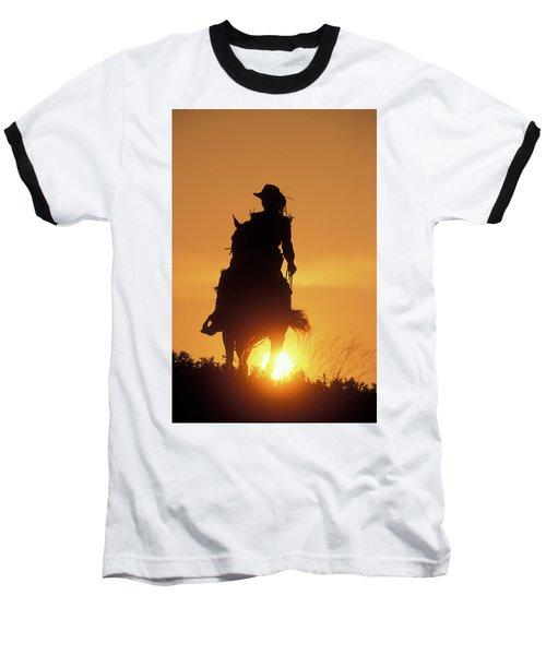 Riding Cowgirl Sunset Baseball T-Shirt