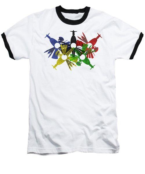Rio De Janeiro Skyline In Various Colors Baseball T-Shirt by Michal Boubin