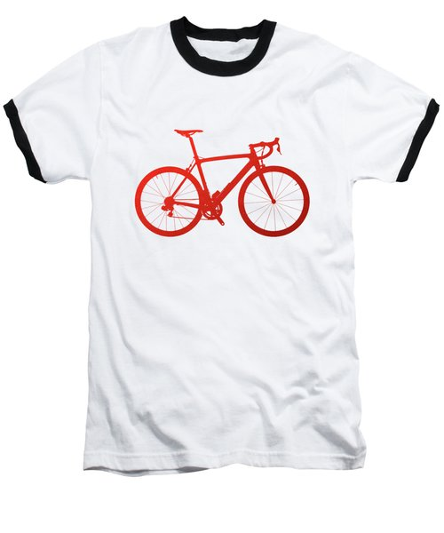 Road Bike Silhouette - Red On White Canvas Baseball T-Shirt by Serge Averbukh