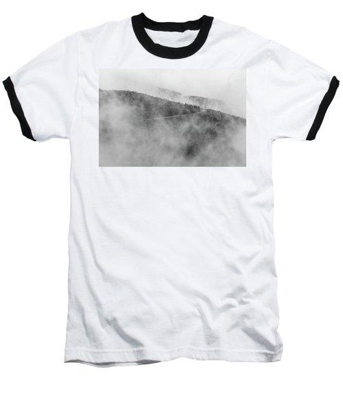 Road In Fog - Blue Ridge Parkway Baseball T-Shirt