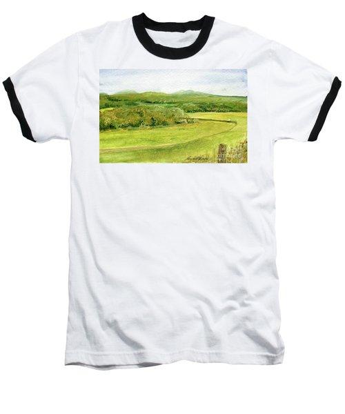 Road Through Vermont Field Baseball T-Shirt