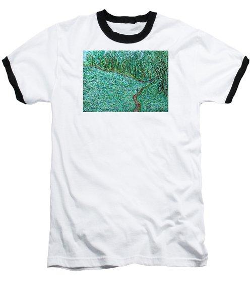 Roadside Green Baseball T-Shirt by Anna Yurasovsky