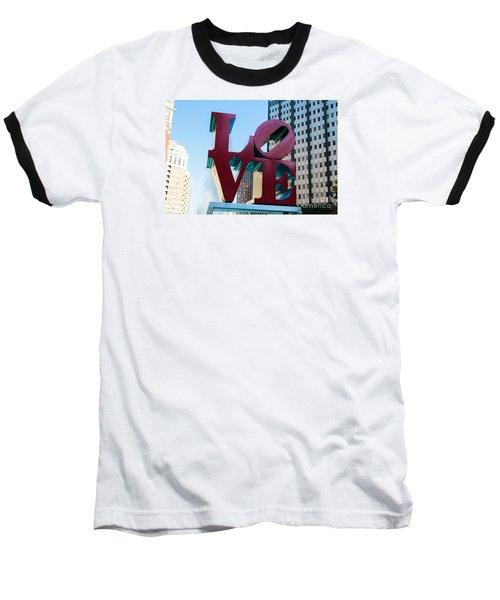 Robert Indiana Love Sculpture Baseball T-Shirt