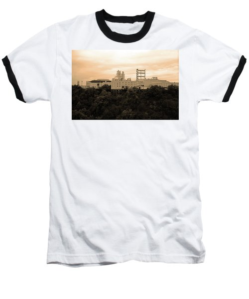 Baseball T-Shirt featuring the photograph Rochester, Ny - Factory On A Hill Sepia by Frank Romeo