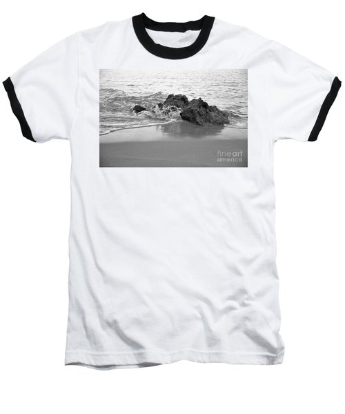 Rock And Waves In Albandeira Beach. Monochrome Baseball T-Shirt by Angelo DeVal