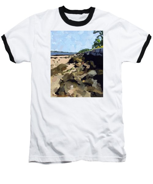 Rock Wall Looking South On Ten Pound Island, Gloucester, Ma Baseball T-Shirt