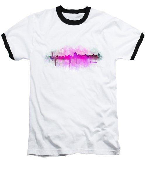 Rome City Skyline Hq V05 Pink Baseball T-Shirt by HQ Photo