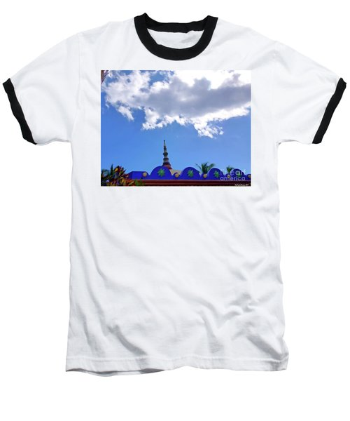 Baseball T-Shirt featuring the digital art Rooftop And Sky by Francesca Mackenney